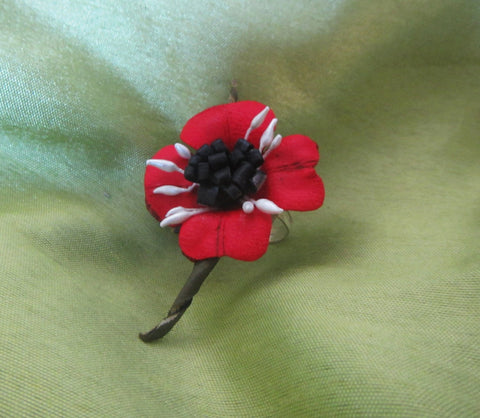Red poppy ring, Leather poppy ring, Leather Red Poppy ring, handmade poppy ring, Poppy ring