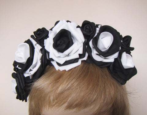 Black-white Roses, Flower headband, Hair hoop with freesias. Hair accessories. Flower hair hoop, Black-white Roses roses flowers hairhoop