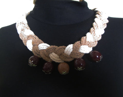 Cotton Necklace braided, cotton jewelry, textile Necklace with big beads, Autumn Cotton Necklace, Cotton crochet Necklace beads Autumn