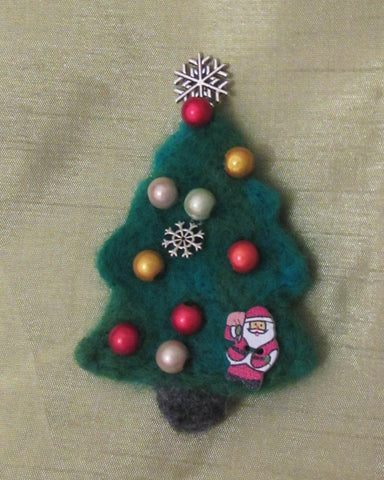 Woolen flower brooch, Christmas tree  felted brooch, Christmas tree brooch, brooch felted brooch