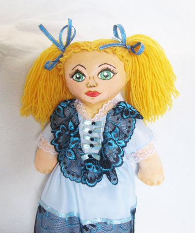 Alice in Wonderland Doll, Textile Doll Alice, Cloth Doll Alice,  Alice Fabric Doll, Alice Dressable Doll, Children's gift, Doll with clothes