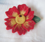 Felted primrose brooch, felted flower corsage pin brooch, felted large flower brooch primrose, felt brooch large red primrose, felt flower
