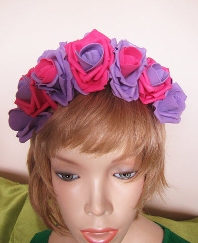 Purple-Pink Roses, Flower headband, Hair hoop with freesias. Hair accessories. Flower hair hoop, Purple-Pink Roses roses flowers hairhoop