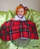 Tea pot warmer Doll, tea cosy doll with scotish dress, OOAK doll Tea pot warmer, Christmas gift, warmer on the kettle doll scotish dress