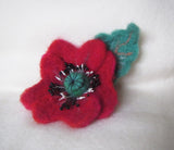 Sale Felted Poppy brooch, flower brooch, felted wool flower brooch Red Poppy, mother day gift, Poppy brooch, felted brooch Poppy hairclip