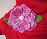 Felted flower brooch, felted pink flower brooch, felted magnolia flower brooch, Felt gift, felted brooch Briar Rose, magnolia hairclip