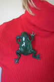 """Green Frog"" Leather Brooch, Summer Brooch frog, Green marsh frog, leather brooch frog, frog brooch, leather Brooch frog, brooch leather Frog, mother's day gift"