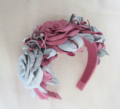 Wedding headband Roses. Wedding Headband. Leather Wedding Headband Rose, White Pink Rose Headband, Flower Headband, Floral Headband Roses