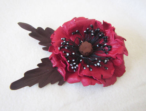 Brooch Red Poppy leather, red poppy brooch made of leather, red poppy Brooch handmade, Summer flower brooch, Leather brooch Poppy, poppy