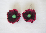 Earrings Poppy Leather, Flowers Earrings poppy, Earrings red Poppy,  Summer Flowers Earrings, Earrings Poppy, Wedding Earrings Red Poppy