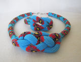 Poppy necklace Knot Rope, Poppy Knot Rope bracelet, Poppy jewelry set blue, Beaded harness necklace rope, Crochet rope necklace Knotted