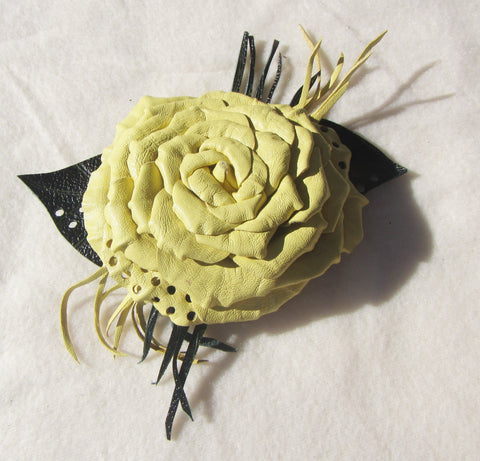 Yellow brooch Rose made from genuine leather, Wedding leather brooch Rose, Yellow autumn flower brooch leather