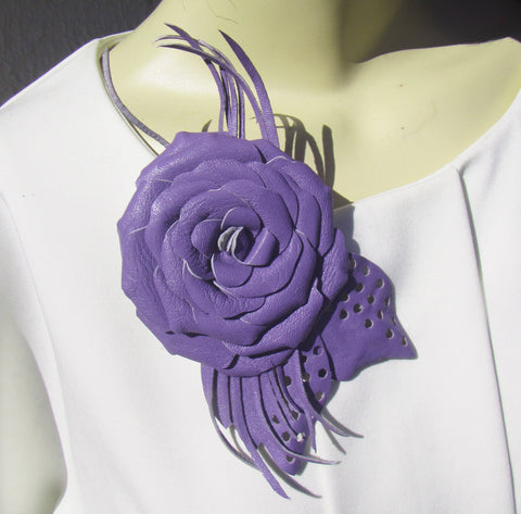 Purple Rose Brooch leather, Purple Rose Brooch flower, leather Purple Rose Wedding Brooch, Purple rose brooch leather, Purple Wedding brooch