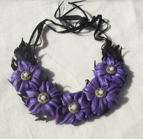 "Leather Necklace ""Purple flowers"", Purple flowers Necklace leather, Spring necklace, flowers neckace leather, Wedding necklace, Purple flowers"