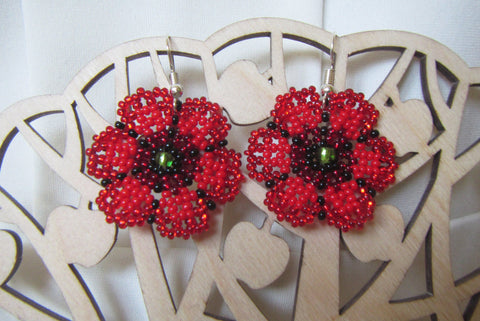 Poppy Earrings, Poppy beads Earrings, Crochet earrings Cornflowers, Daisy flowers earrings, Summer earrings, Cornflowers earrings, Daisy