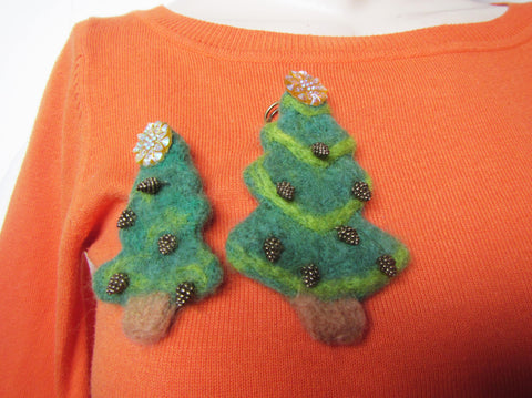 Wool Set Christmas brooch, Christmas tree felted brooch, Christmas tree brooch, brooch felted brooch, Christmas gift Mother and Child, gift
