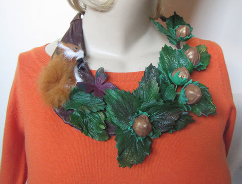 Squirrel Necklace leather, Squirrel necklace, Leather necklace squirrel, Christmas Necklace, Forest nuts necklace, Christmas necklace Nuts