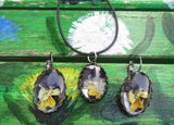 Natural Flowers jewelry set, Resin pendant Earrings, Real Flower Earrings, Flowers Pansies Earrings, Pansies Earrings, Real Pansies set