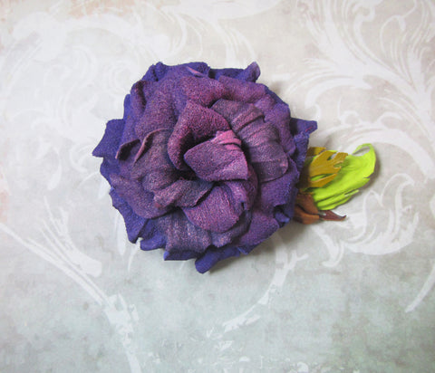 Leather brooch rose, Purple Rose Brooch leather, Purple Rose Brooch handmade, rose brooch autumn, leather Rose brooch, scarf brooch rose