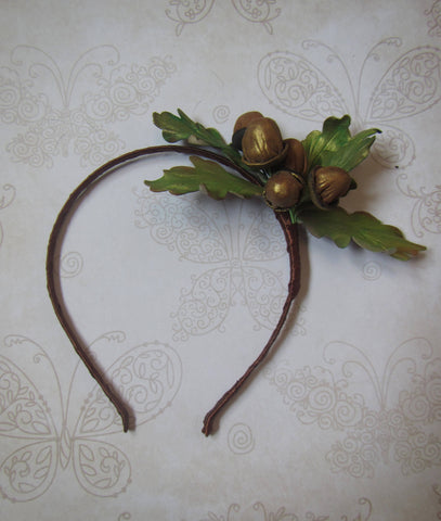 Christmas headband, Hair hoop Christmas, Hair accessories acorn, Oak Acorn hair hoop, Oak Acorn leather headband, Oak leaf headband, Oak