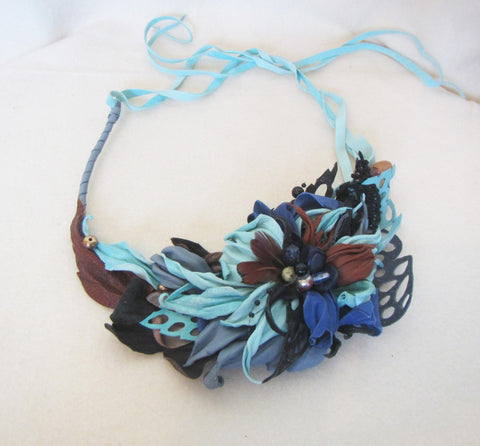 """Blue lily"" Leather Necklace, leather necklace ""Blue lily"", Flowers Necklace ""Blue Lily"", Leather necklace Lily, spring flowers necklace"