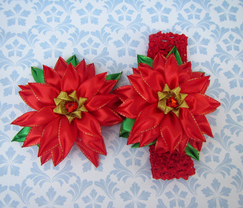 Christmas Poinsettia mother and daugter set, Christmas Flower Headband, Christmas Poinsettia baby Headband, Christmas Poinsettia gift set
