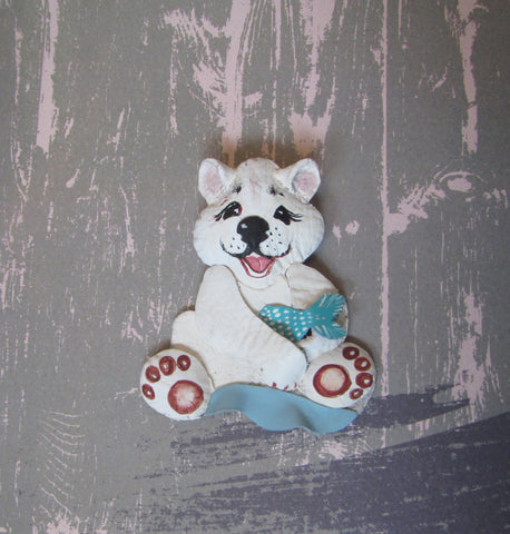 Christmas brooch White bear, Christmas brooch bear, brooch Polar Bear, White bear brooch, leather brooch White bear, White bear brooch gift