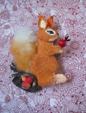 Squirrel brooch fur, Squirrel brooch, Squirrel brooch leather, Mother's day gift, Christmas brooch, red squirrel brooch, animal brooch, gift