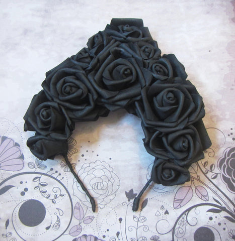 Halloween headband, Hair hoop with freesias, Black Roses headband, Flower hair hoop, roses flowers, Hallowen Hair hoop, Hallowen hairhoop