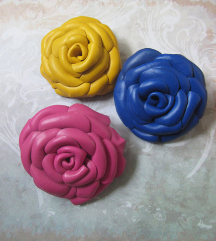 Brooch Blue Rose, Brooch Pink Rose leather, Yellow Rose Brooch leather, Blue Rose Brooch handmade, rose brooch autumn, leather Rose brooch