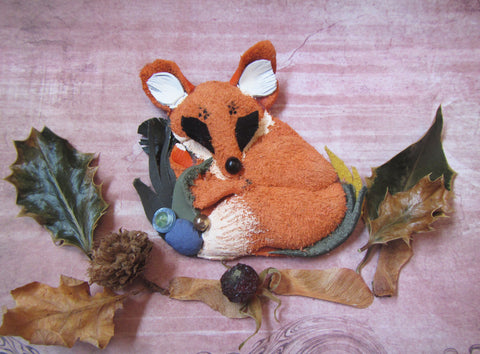 "Leather brooch ""Red Fox"", Orage Fox brooch, Mother's day gift, forest brooch, forest fox brooch, animal brooch, gift brooch Fox"