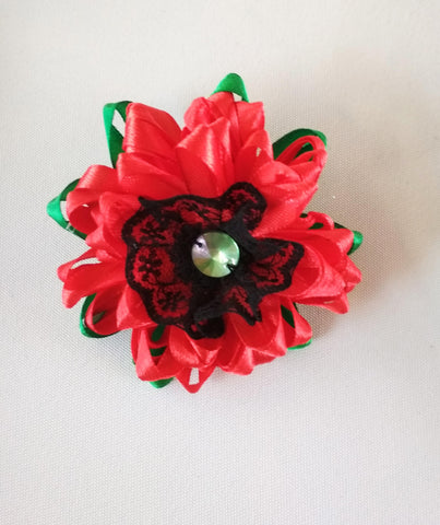 Red poppy brooch, Handmade kanzashi flower hairclip, 2-in-1 brooch-hairclip Poppy, poppy flower brooch, Remembrance poppy brooch hairclip