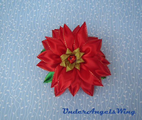 Christmas Poinsettia hairclip, Christmas Flower brooch, Christmas Poinsettia brooch, Christmas Poinsettia hairclip, 2-in-1 brooch-hairclip