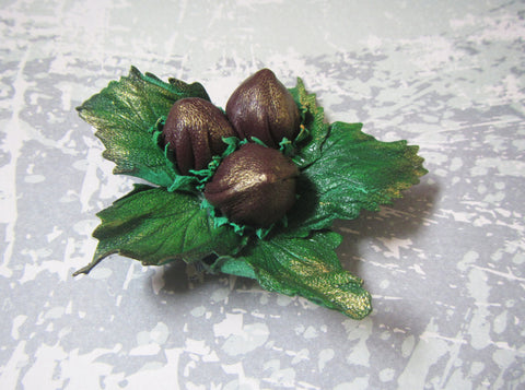 Nuts brooch, Mother's gift, brooch nuts, hazelnuts brooch, 2-in-1 brooch-hairclip hazelnuts, hazelnuts hairclip, hazelnuts brooch, nuts clip