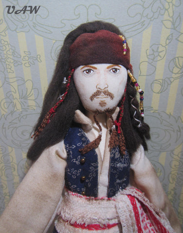Captain Jack Sparrow doll, Textile doll Captain Jack Sparrow, Interior doll Jack Sparrow , Art doll pirate Jack, OOAK Doll Jack Sparrow
