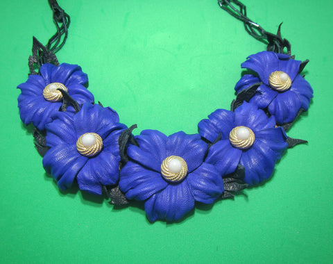 "Leather Necklace ""Blue Flowers"", Blue flowers Necklace leather, Spring necklace leather, flowers neckace leather,  Wedding necklace, blue"