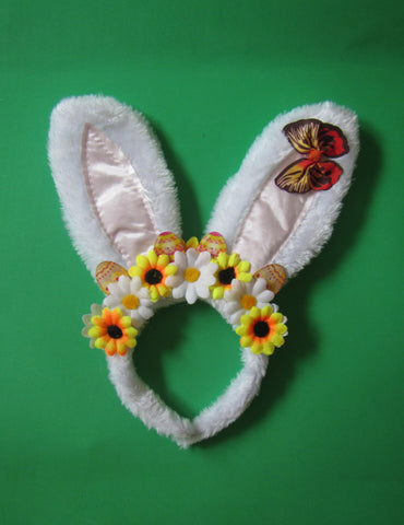 Easter bunny ears, Easter bunny white ears with flowers, Easter hearband, Toddler Girl Bunny Ears, Bunny Easter Ears Headband, Easter Ears