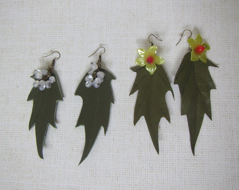 Spring Earrings, Spring leaves Earrings, leather leaves Earrings, leather Earrings with flowers, leather Earrings with berries,  leaves