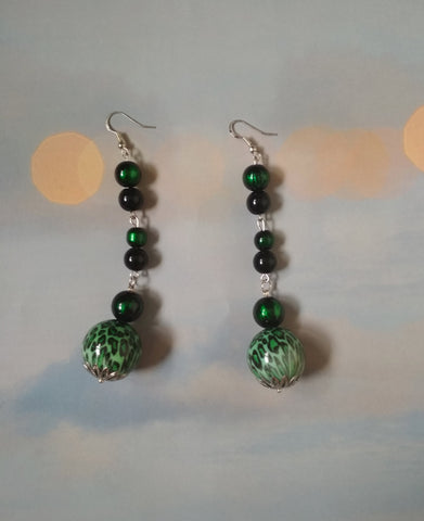 Long Green earrings, green Long tassel earrings, summer green earrings, beads long earrings, Green beads earrings, long earrings green beads
