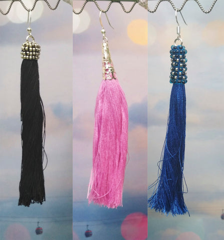 Long tassel earrings, Colors Long tassel earrings, Black tassel earrings, Red tassel earrings, Blue tassel earrings, white tassel earrings