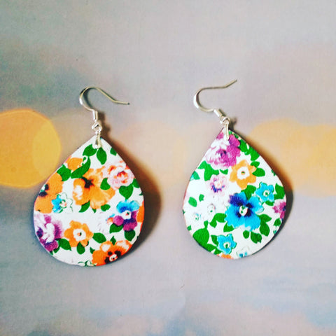 Leather Earrings, Summer Earrings, Colorful Earrings, leather Drop Earrings, leather flowers Earrings, summer colorful earrings