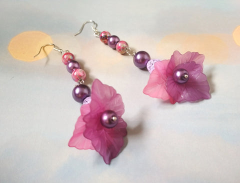 Long Purple earrings, purple Long earrings, summer purple earrings, beads long earrings, flowers beads earrings, long earrings flowers beads
