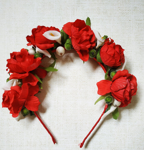Flower headband, Hairhoop with freesias. Hair accessories. Flower hair hoop, atumn flowers headband, Red Roses hairhoop Wedding accessories