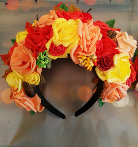 Autumn headband, Hair hoop with Roses and nuts. Hair accessories. Flower hair hoop, Autumn flowers, Yellow Red Rose. Wedding accessories