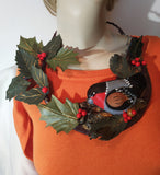 Christmas Necklace leather, Bird bullfinch and berries necklace, Leather necklace bullfinch , Christmas Necklace, Forest bullfinch necklace