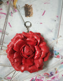 Leather keyrings Red Rose, Leather bag charm Rose Leather bag charm Red Rose, keychains Red Rose,  valentine's day gift, Leather bag charm