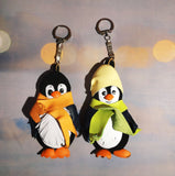 "Leather keyrings ""Penguin"", Leather bagchains Penguin, Leather keychains Penguin, Christmas gift Penguin,  keychains Animal winter keychains"