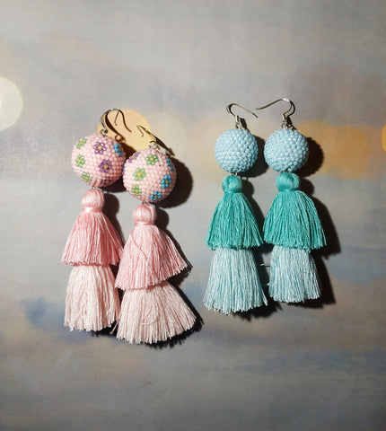 Long tassel earrings, Blue Long tassel earrings, Pink tassel earrings, Flowers tassel earrings, tassel earrings pink tass earrings, Summer
