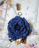 Leather keyrings Blue Rose, Leather bag charm Rose Leather keychains Blue Rose, bag charms Blue Rose valentine's day gift, Leather bag charm