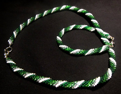 Beaded crochet necklace and bracelet set. Green, silver, white beads. Beaded harness necklace and bracelet.